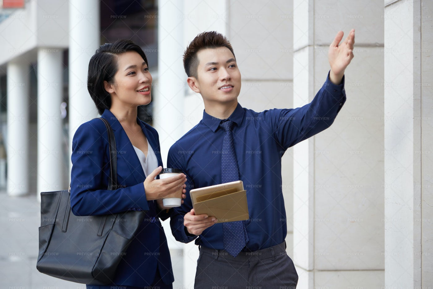 Business Colleagues Standing Outdoors: Stock Photos