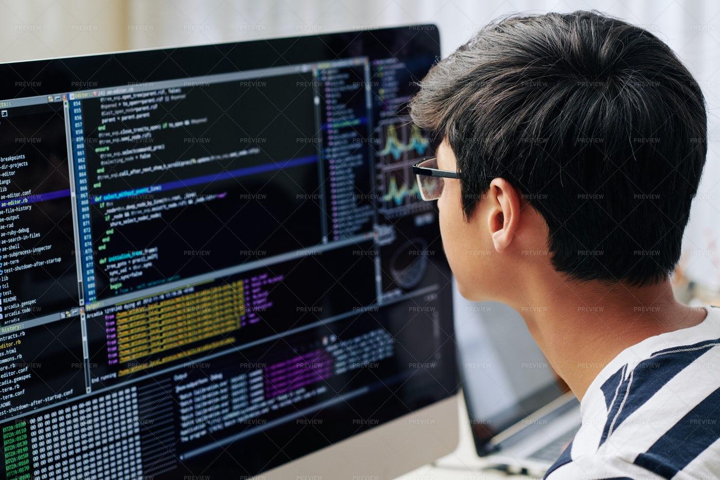 Teenage Boy Checking Programming Code: Stock Photos
