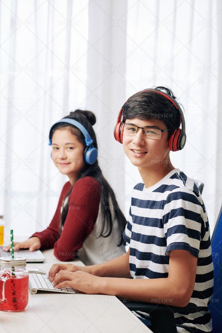 Programming Boy And Girl: Stock Photos