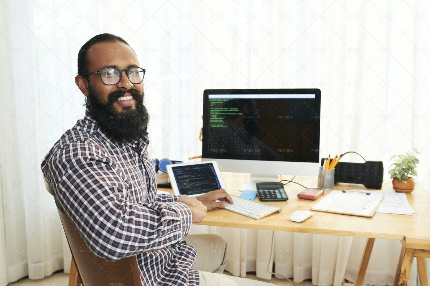 Man Developing The Computer Program: Stock Photos
