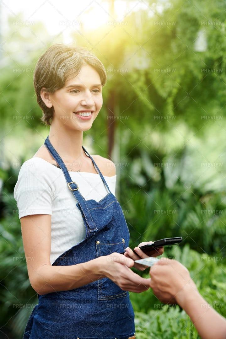 Florist Taking Credit Card: Stock Photos