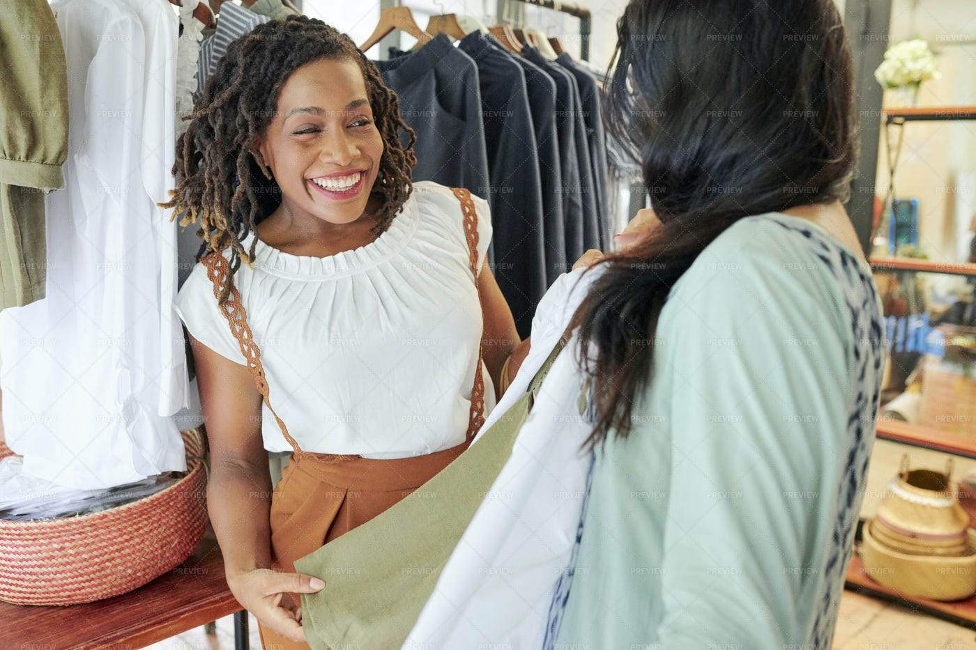 Happy Youg Woman Shopping With Friend: Stock Photos