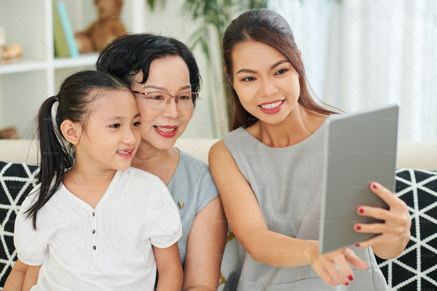 Family Resting At Home: Stock Photos