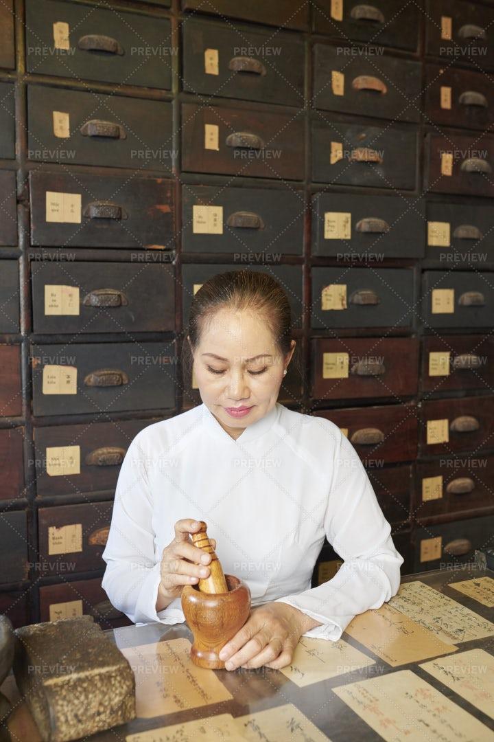 Asian Woman Working At Tradional: Stock Photos
