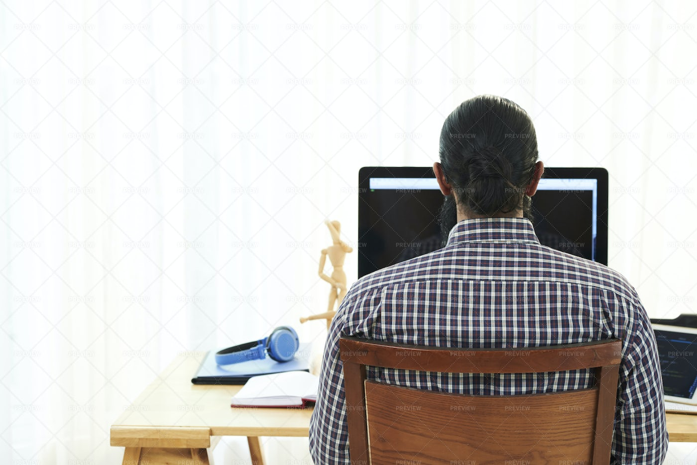 Man Working On Computer At Office: Stock Photos
