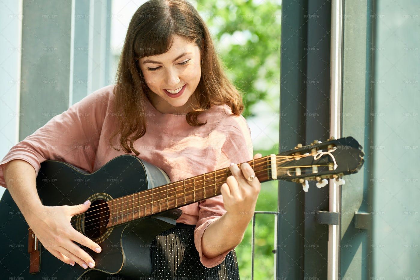 Lovely Cheerful Woman With Guitar: Stock Photos