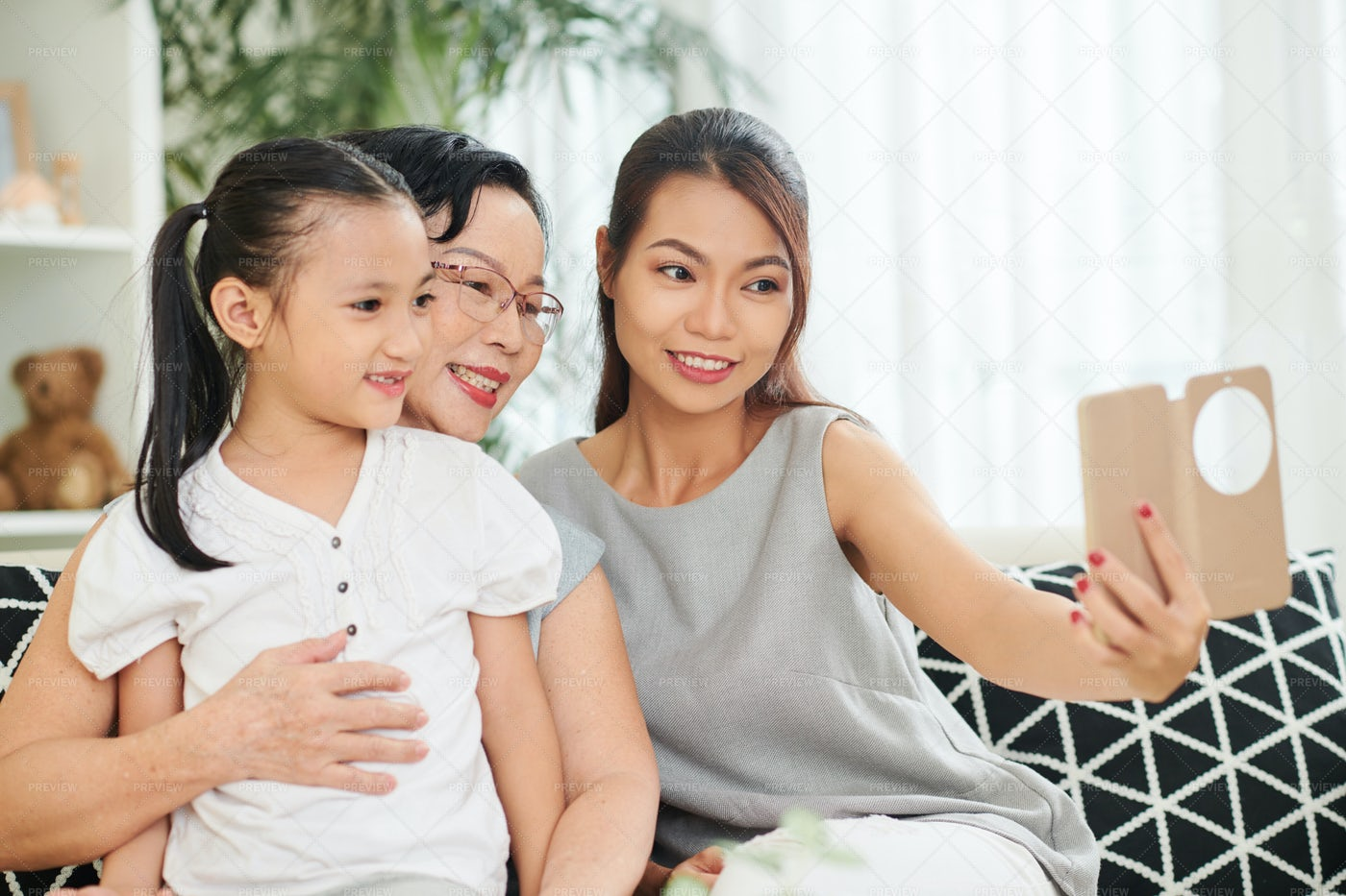 Family Portrait At Home: Stock Photos