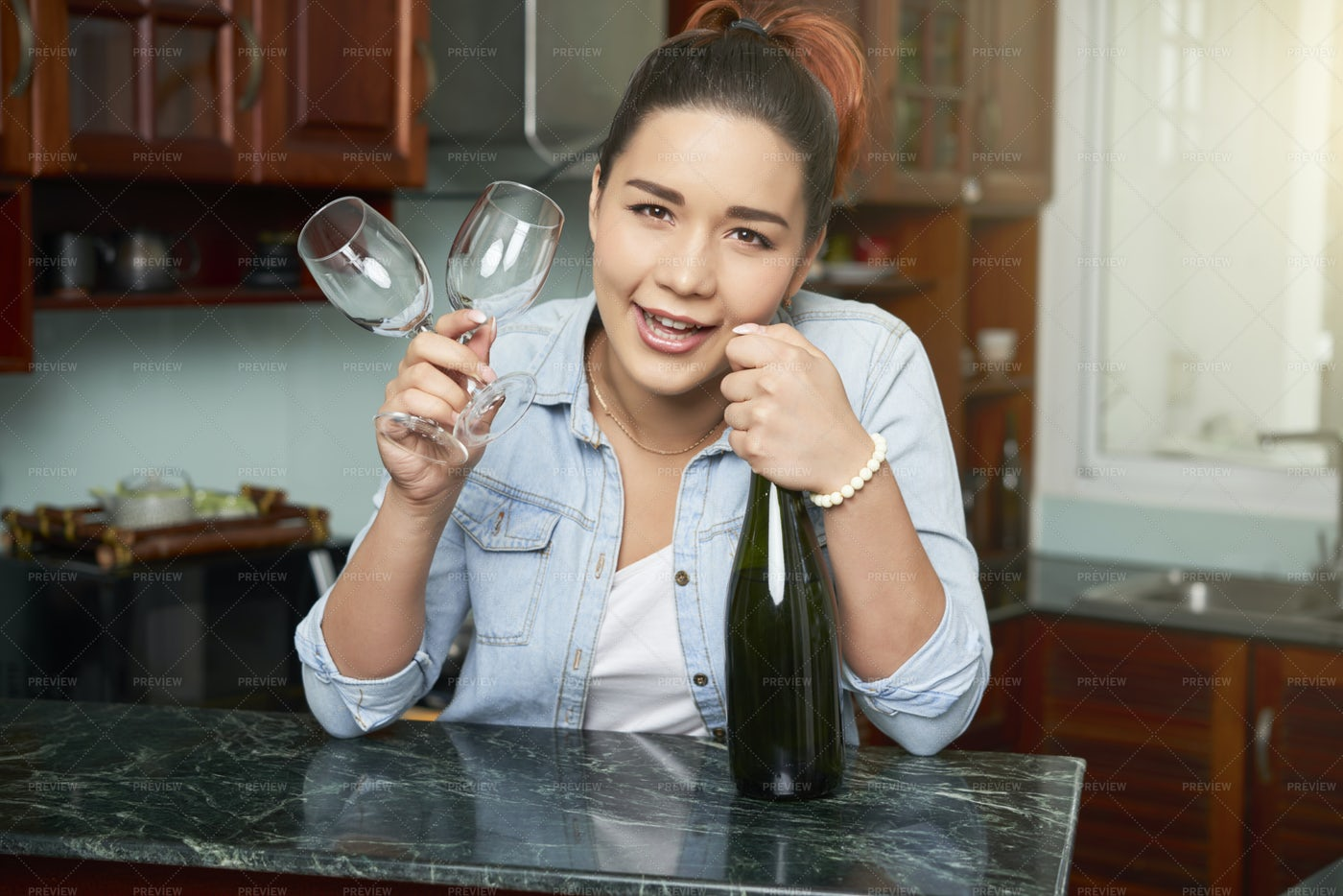 Woman Is Going To Celebrate: Stock Photos
