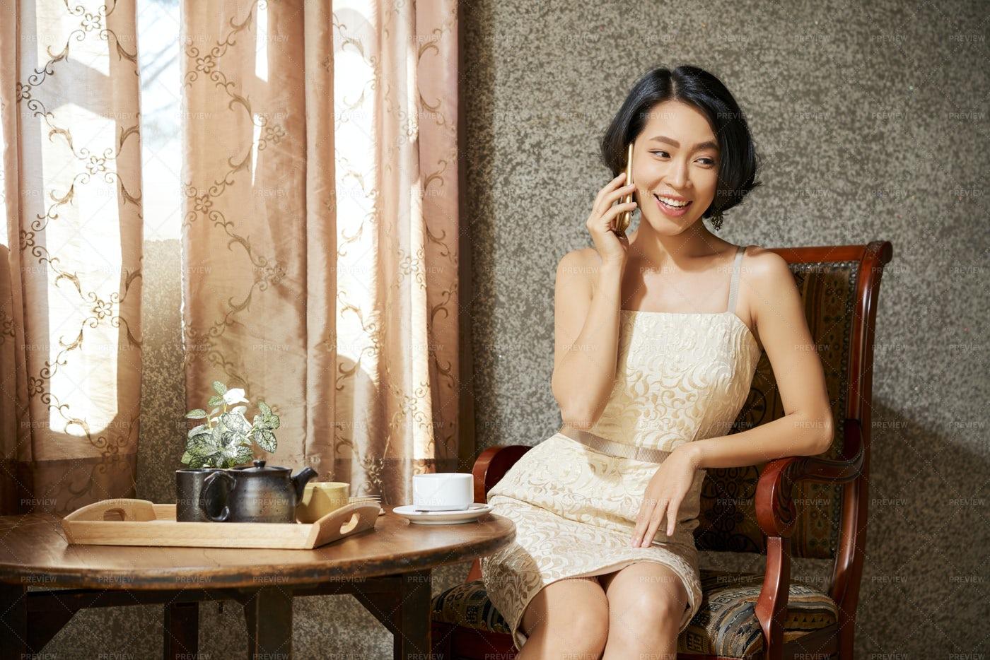Gorgeous Woman Talking On Phone: Stock Photos