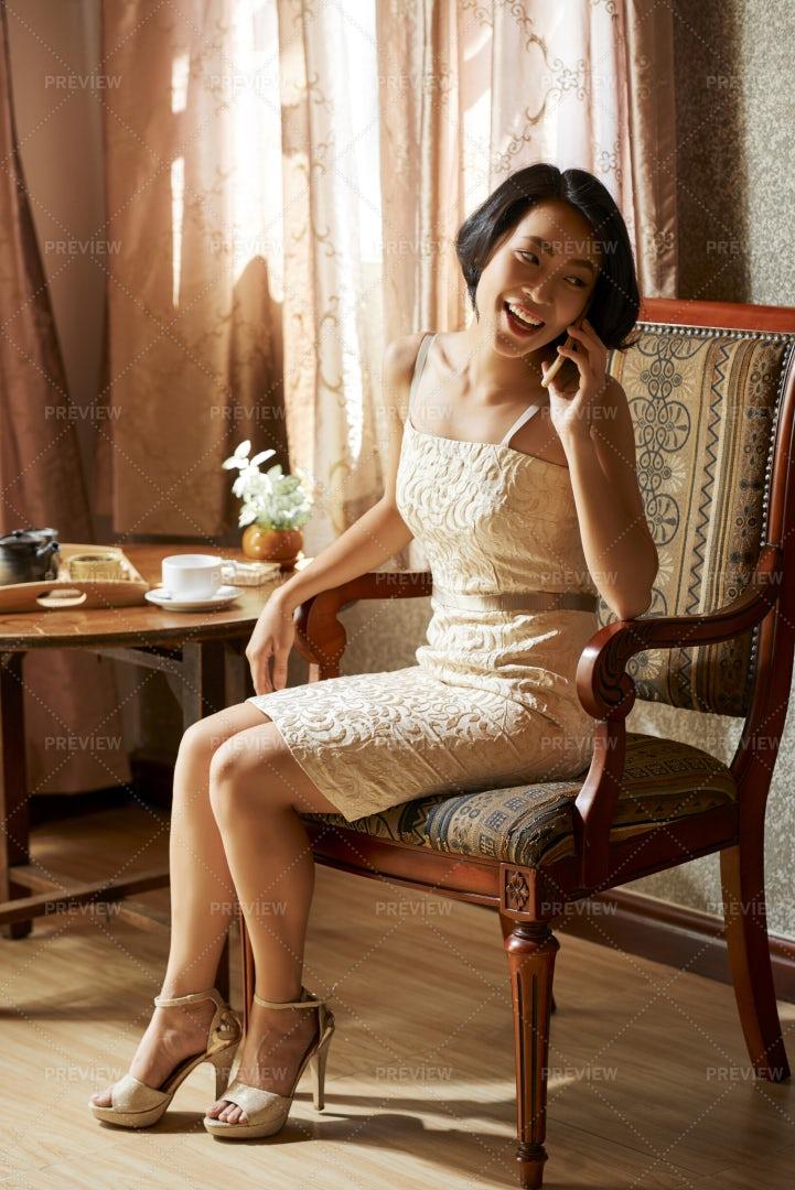 Beautiful Woman Making Phone Call: Stock Photos
