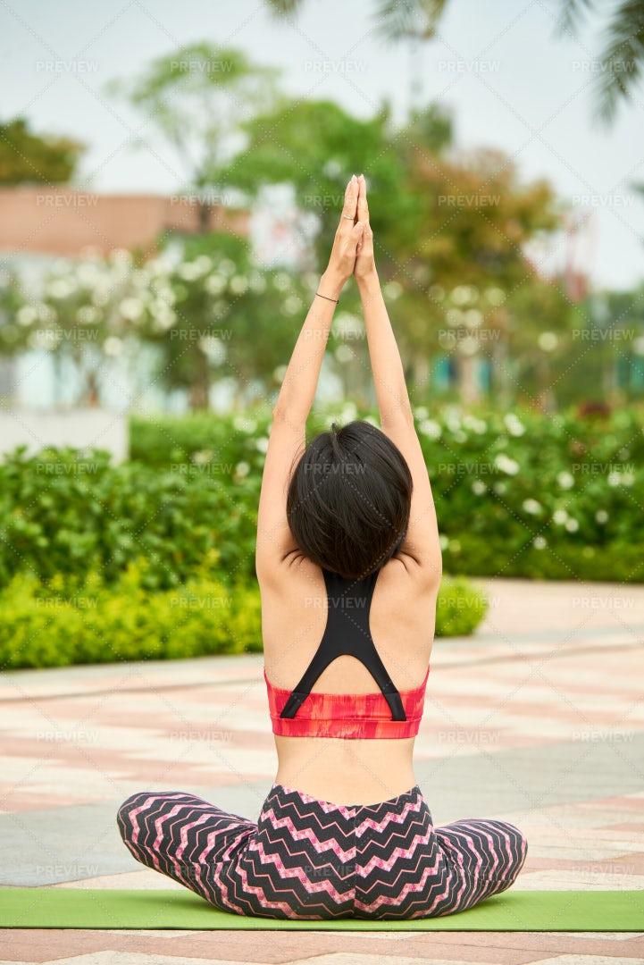 Woman Doing Yoga Alone Outdoors: Stock Photos