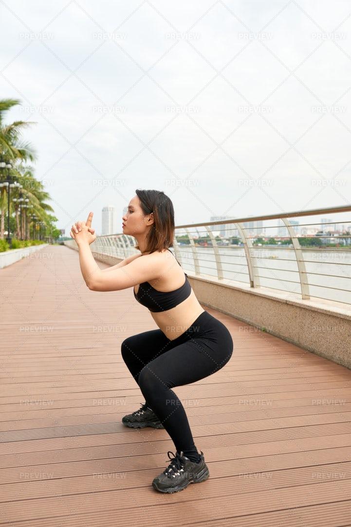 Fitness Woman Exercising Outdoors: Stock Photos