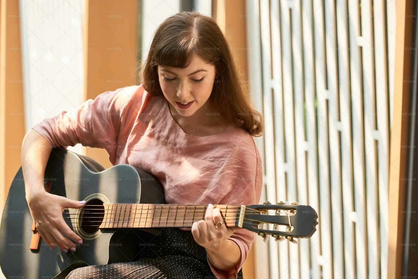 Creative Woman With Guitar: Stock Photos