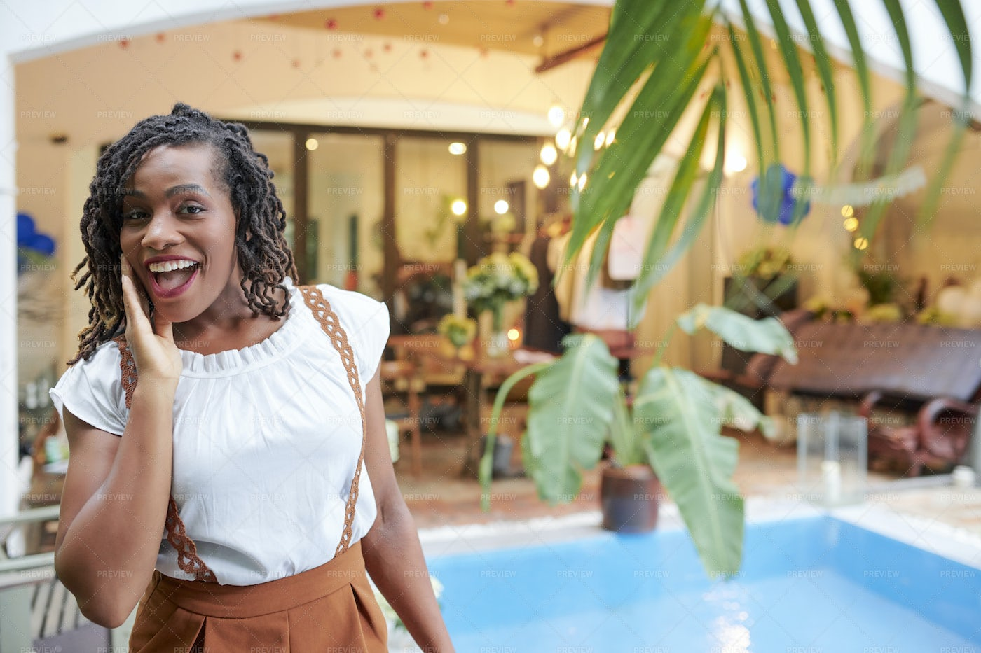Excited Woman In Spa Hotel: Stock Photos