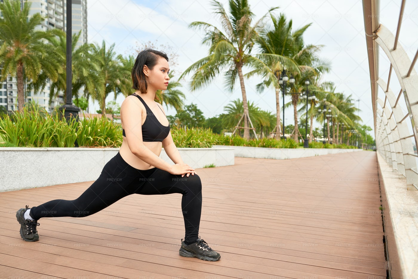 Woman Working Out Outdoors: Stock Photos