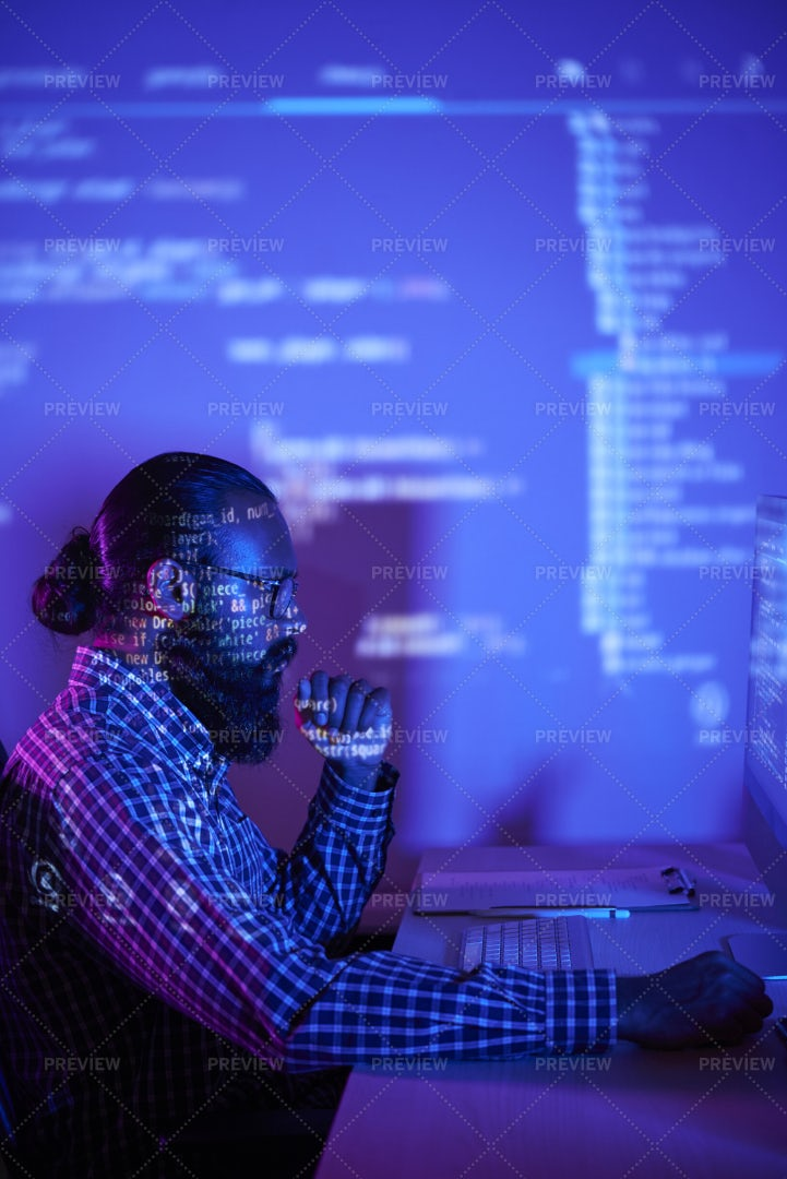 Programmer Working With New Software: Stock Photos