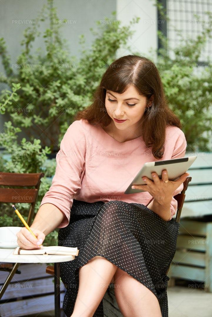 Creative Woman Writing In Diary: Stock Photos