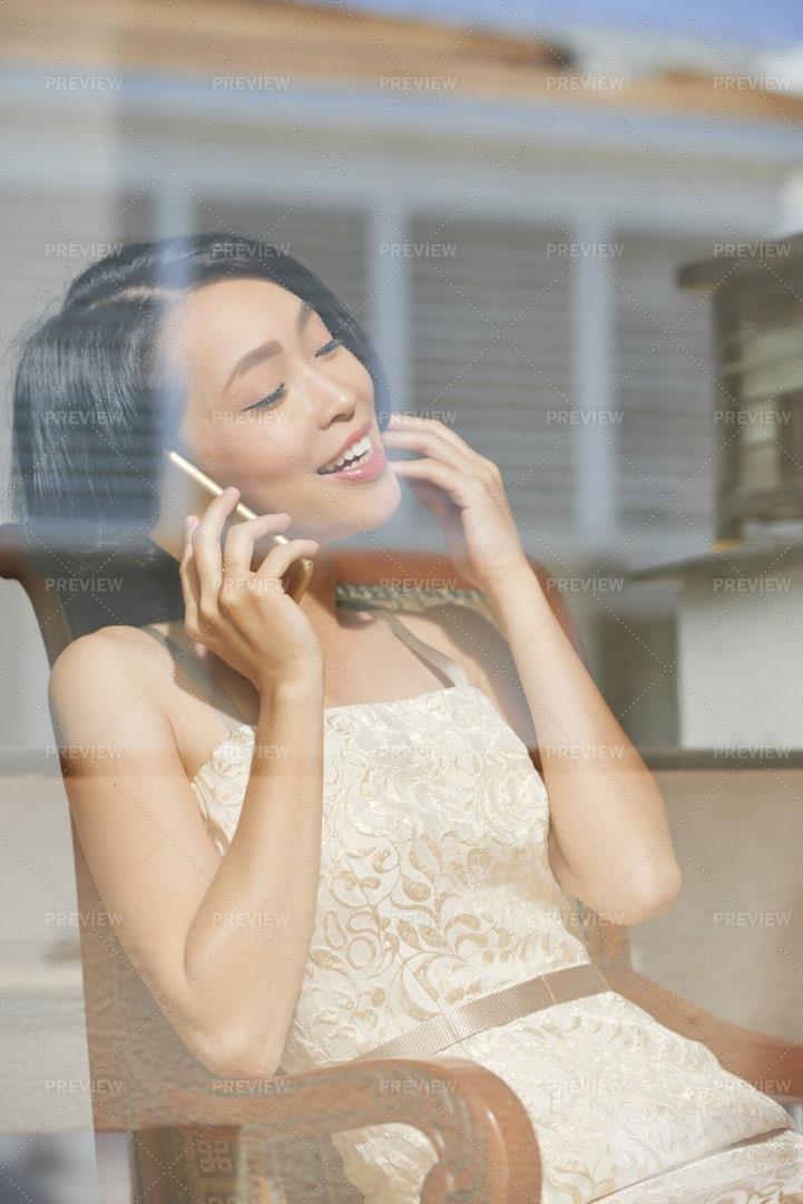Gorgeous Woman Calling On Phone: Stock Photos