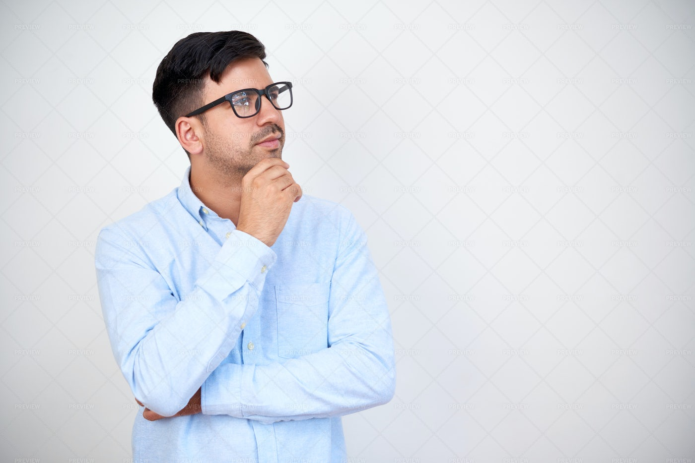 Pensive Young Entrepreneur In Glasses: Stock Photos