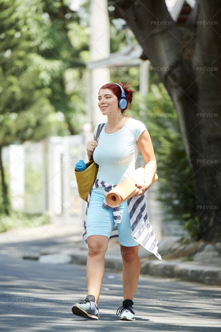 Sporty Woman Walking In Street: Stock Photos