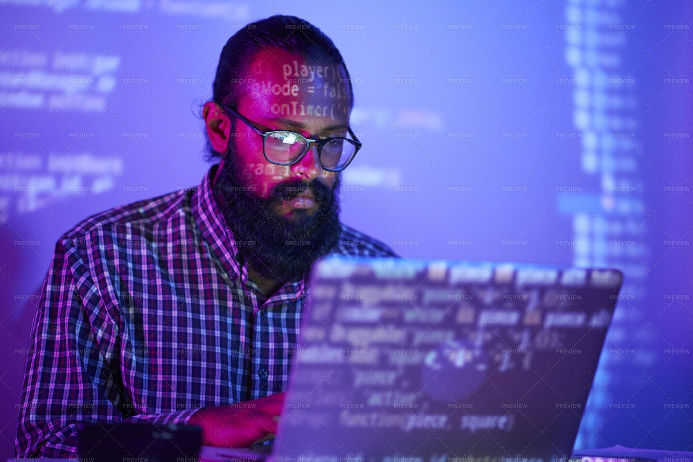 IT Man Working On Laptop Computer: Stock Photos