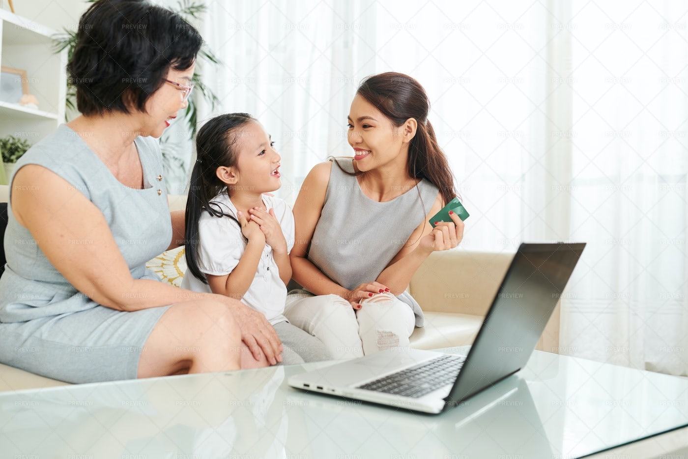 Buying Present Online For Daughter: Stock Photos
