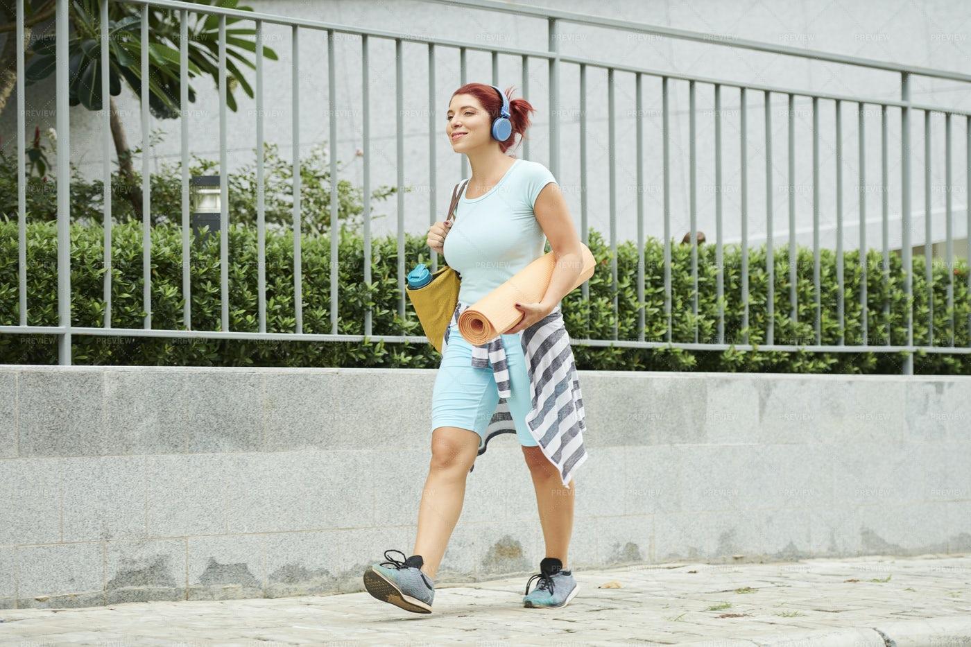 Young Woman With Youga Mat: Stock Photos