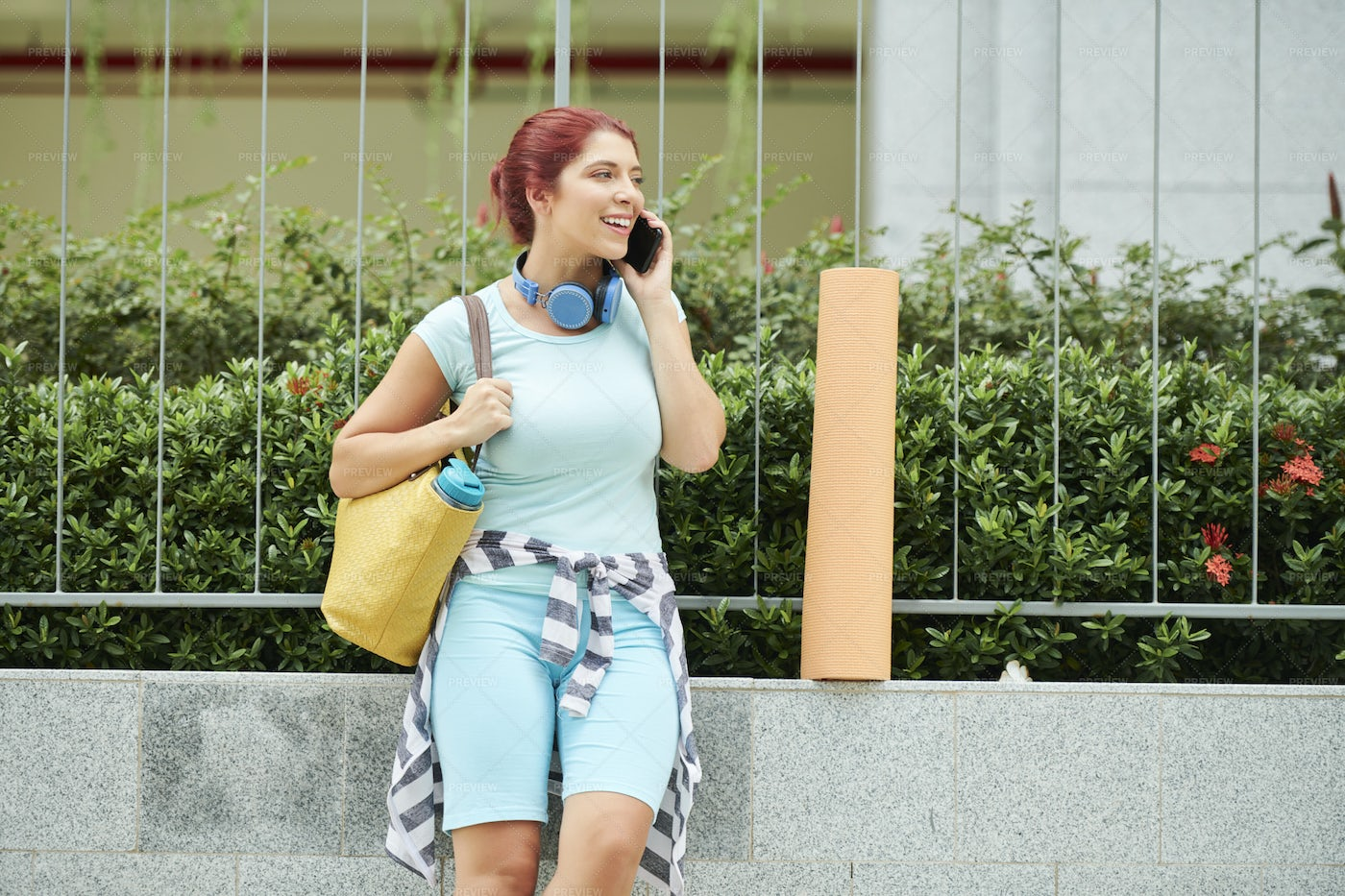Young Woman Calling Friend: Stock Photos