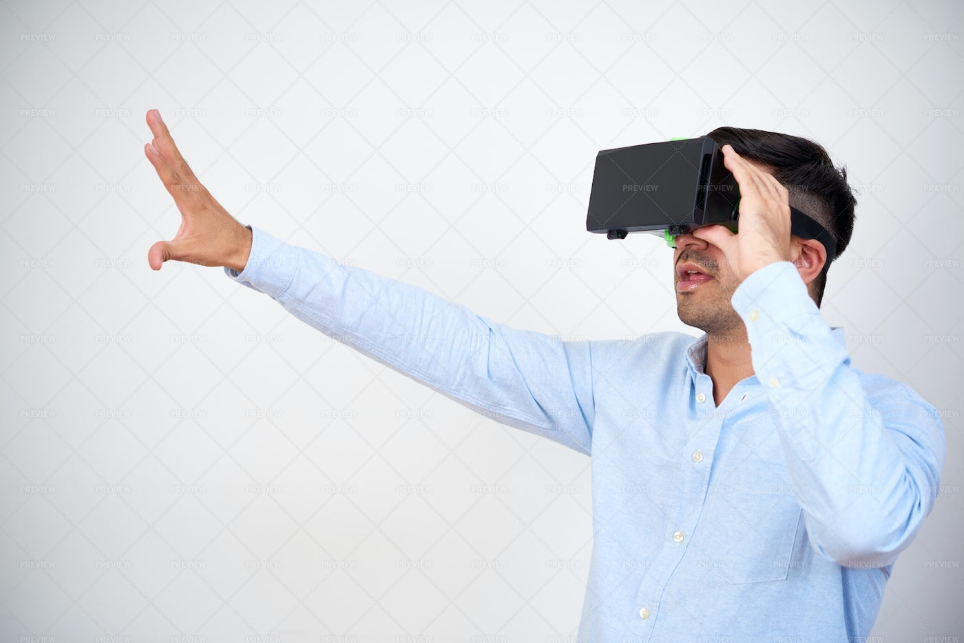 Businessman Working In VR Headset: Stock Photos