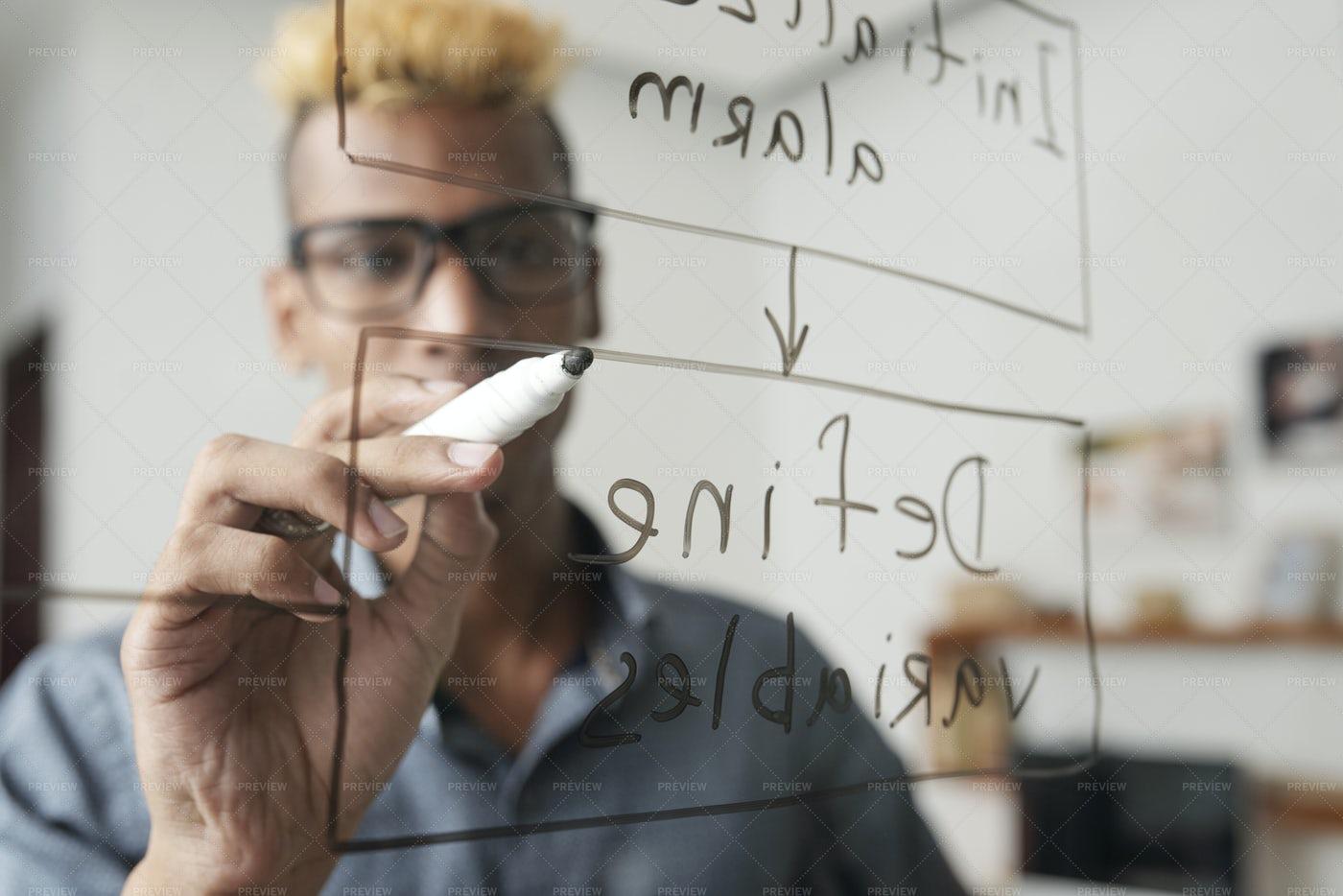 Programer Drawing Block Scheme: Stock Photos