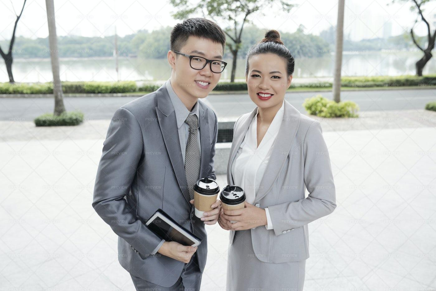 Cheerful Business Couple: Stock Photos