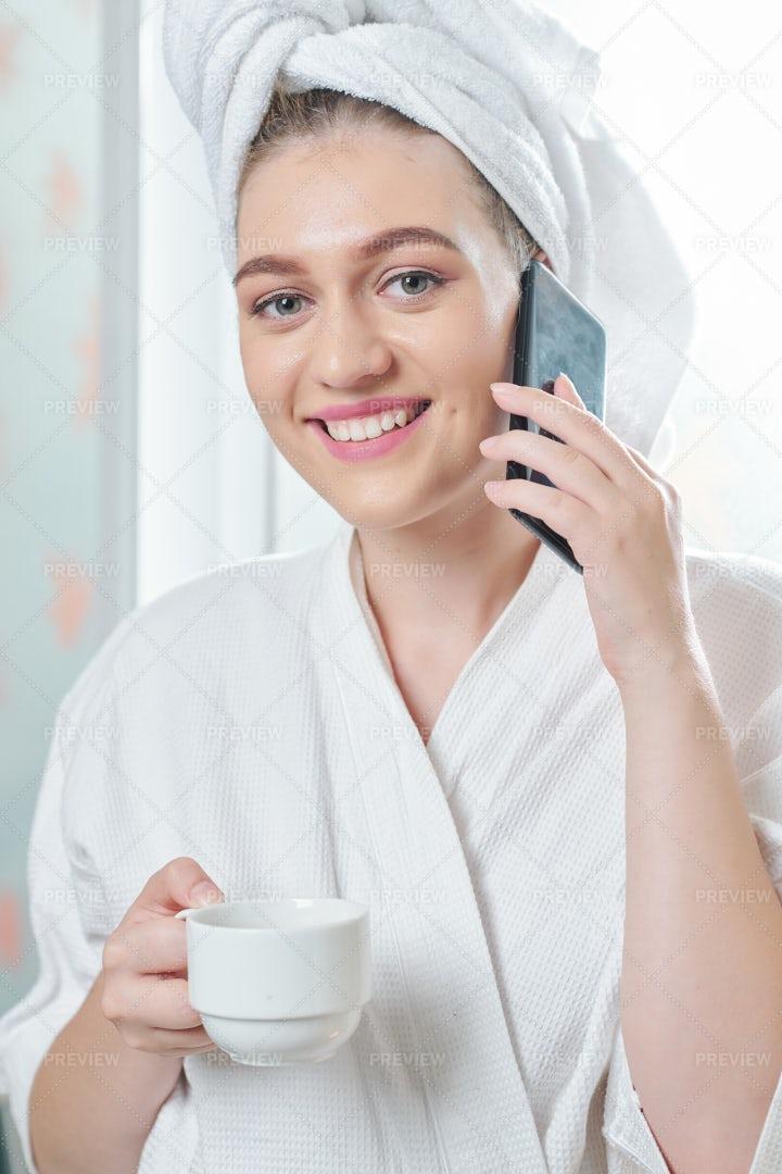 Beautiful Woman Calling After Taking: Stock Photos