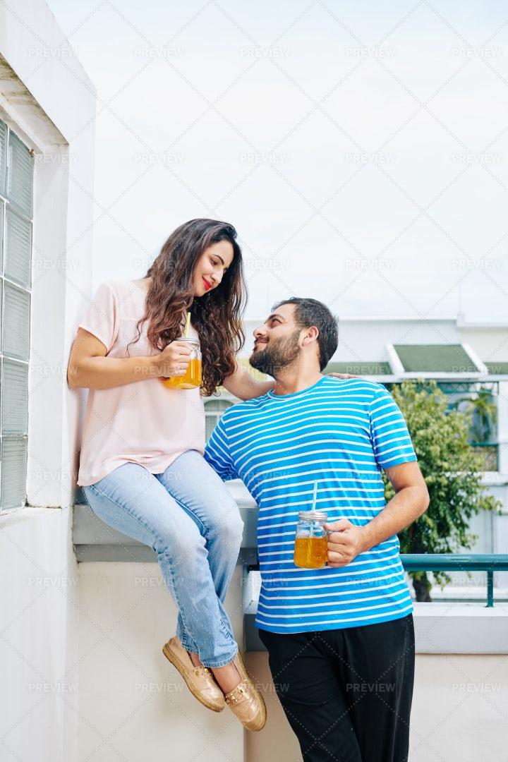 Couple Drinking Refreshing Lemonade: Stock Photos