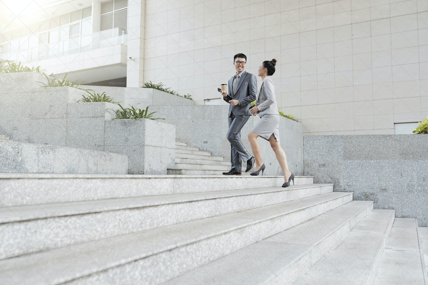 Business People Walking To Office: Stock Photos