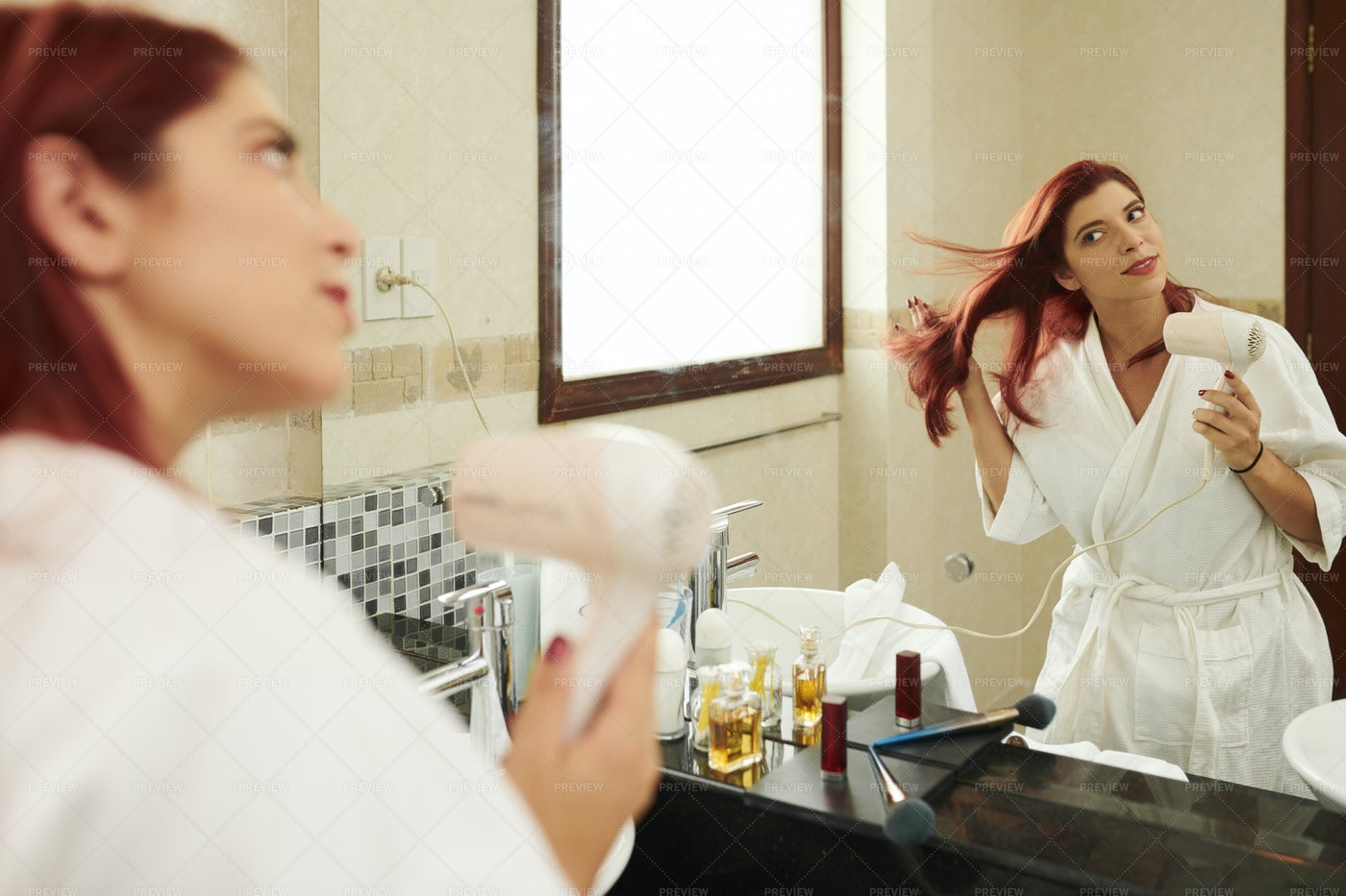 Young Woman Drying Hair: Stock Photos