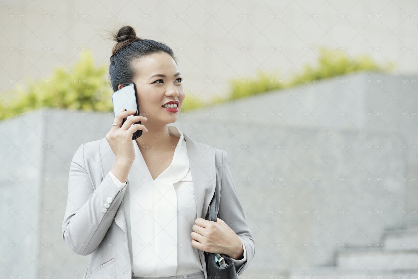 Young Business Lady Talking On Phone: Stock Photos