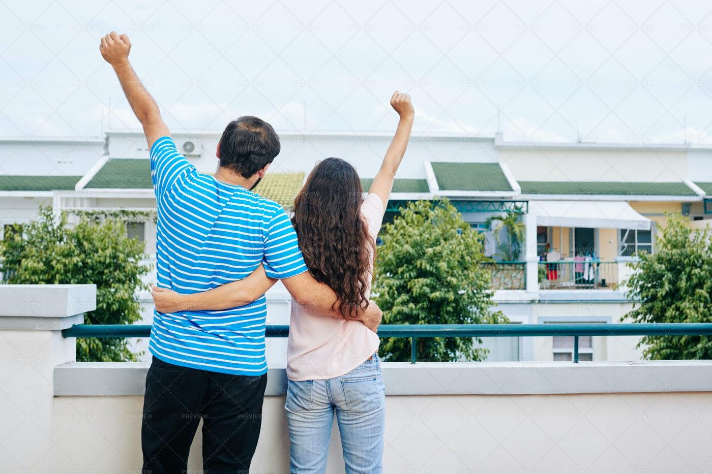 Couple Celebrating Buying New House: Stock Photos