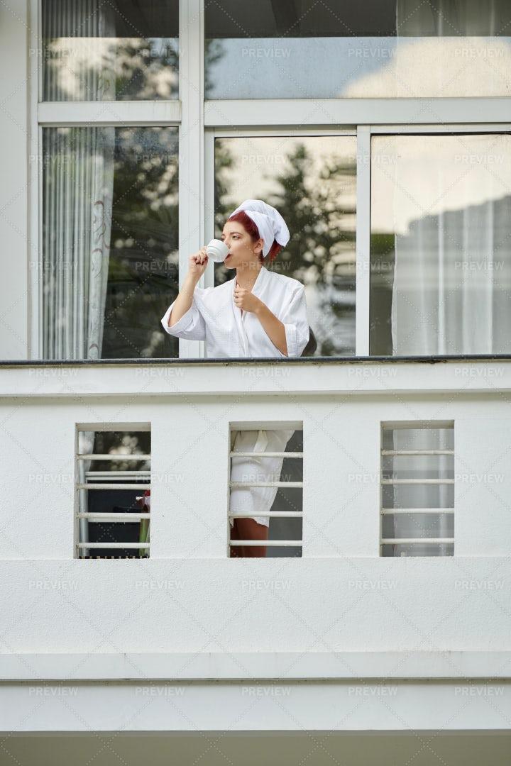 Woman Enjoying Morning Coffee: Stock Photos