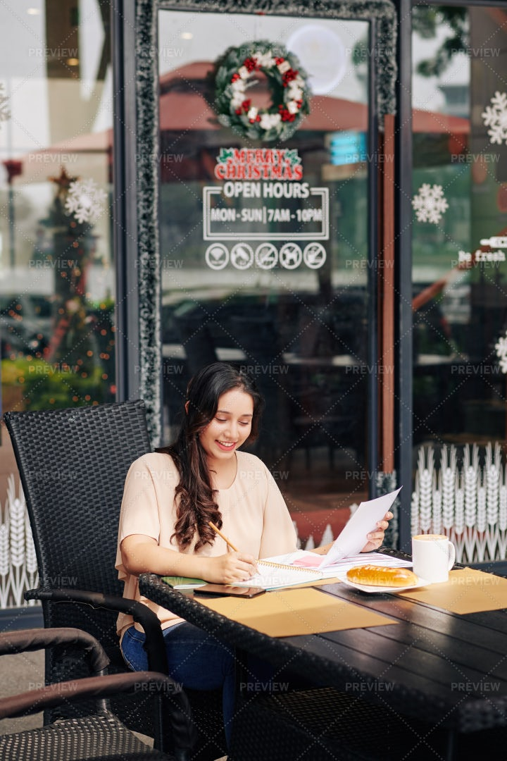 Woman Checking Business Documents: Stock Photos