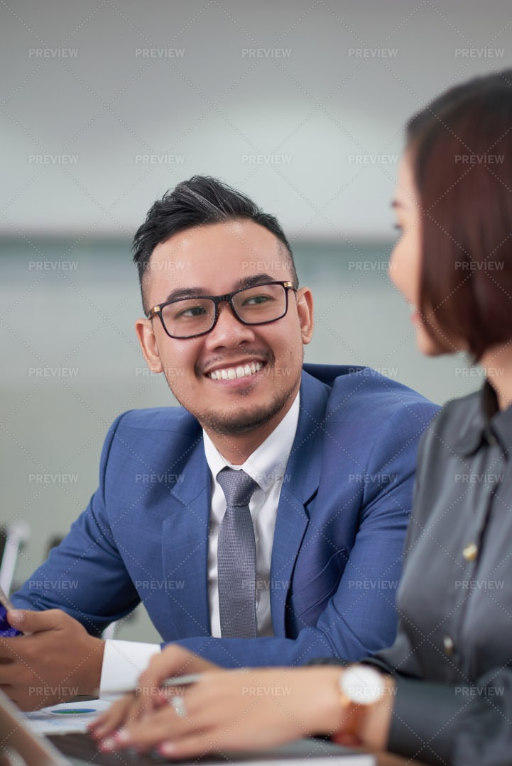 Asian Businessman Talking To His: Stock Photos