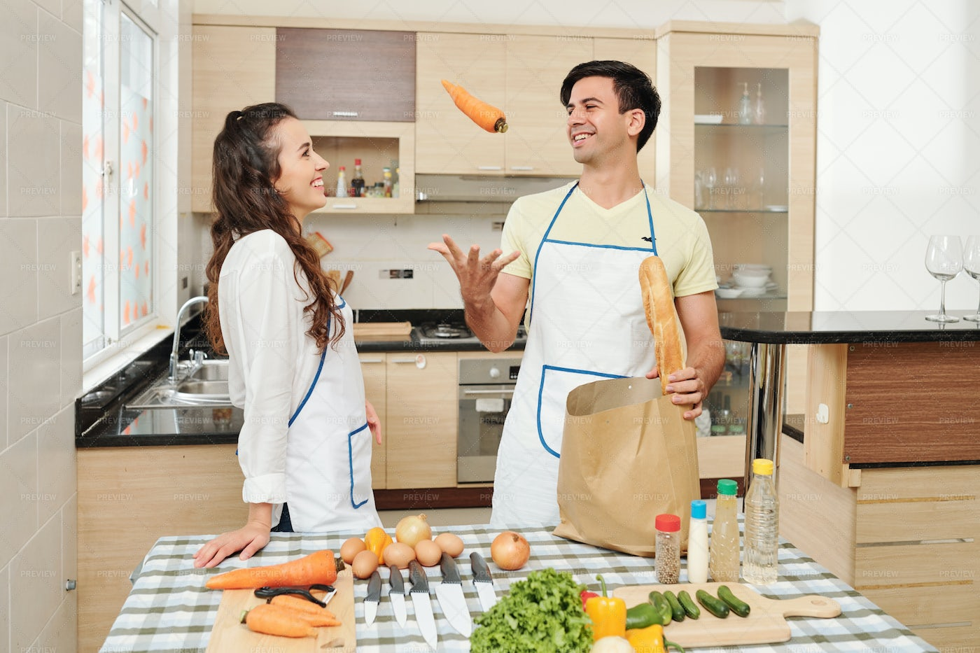 Make Taking Products Out Of Grocery Bag: Stock Photos
