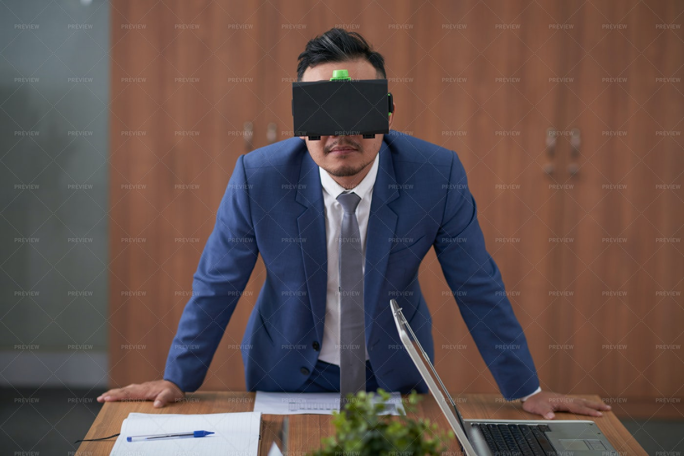 Businessman Has Virtual Presentation: Stock Photos