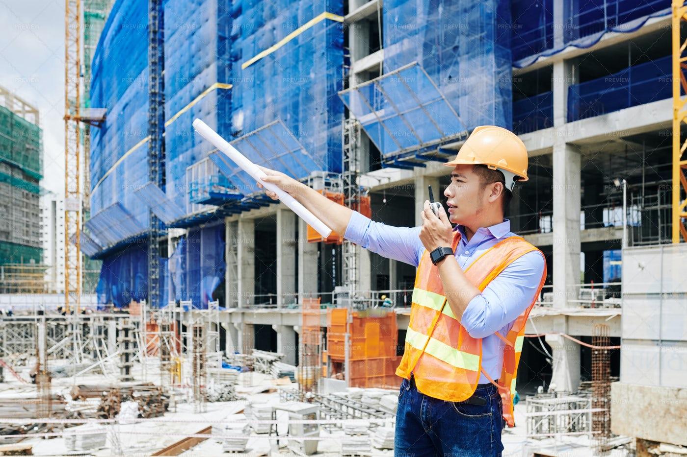 Serious Civil Engineer Managing: Stock Photos