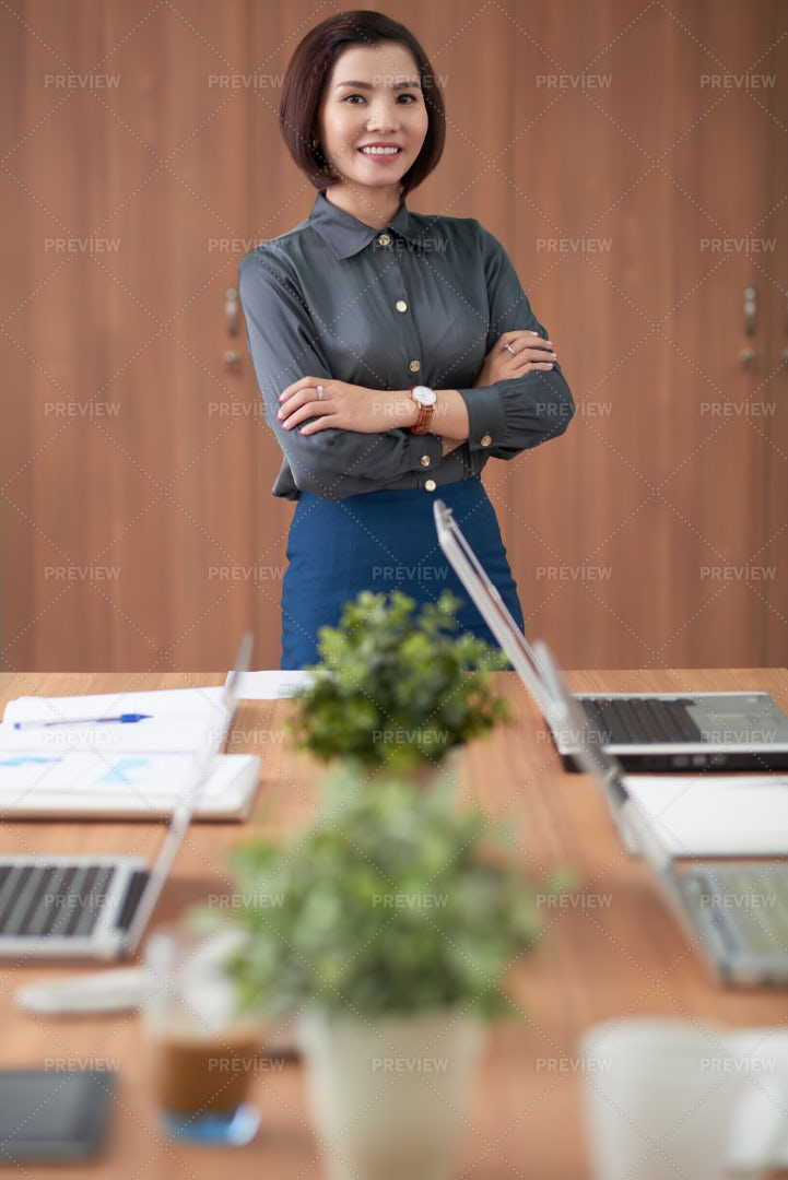 Asian Businesswoman Standing In Board: Stock Photos