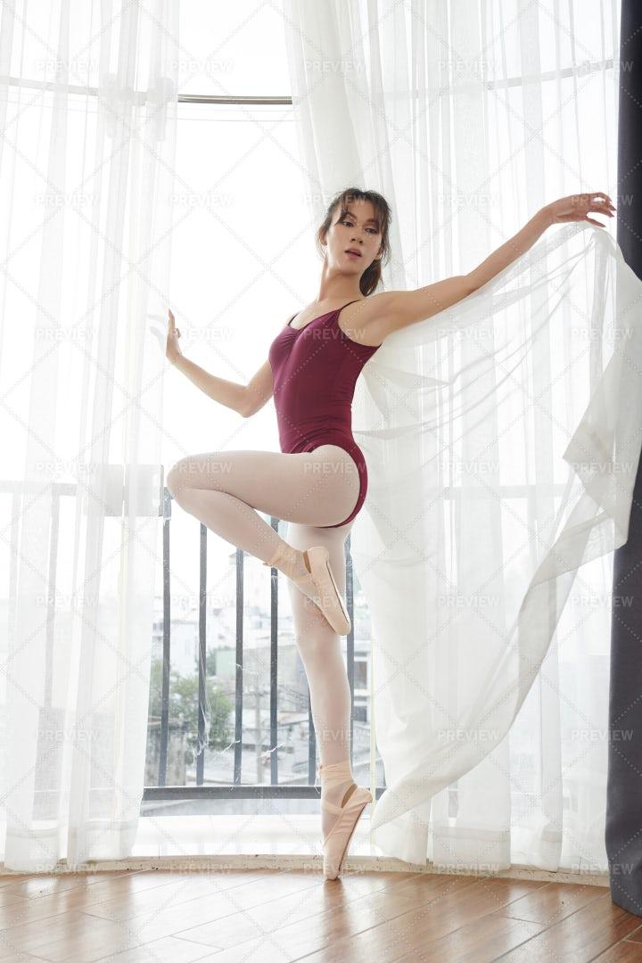 Beautiful Ballerina In Ballet School: Stock Photos