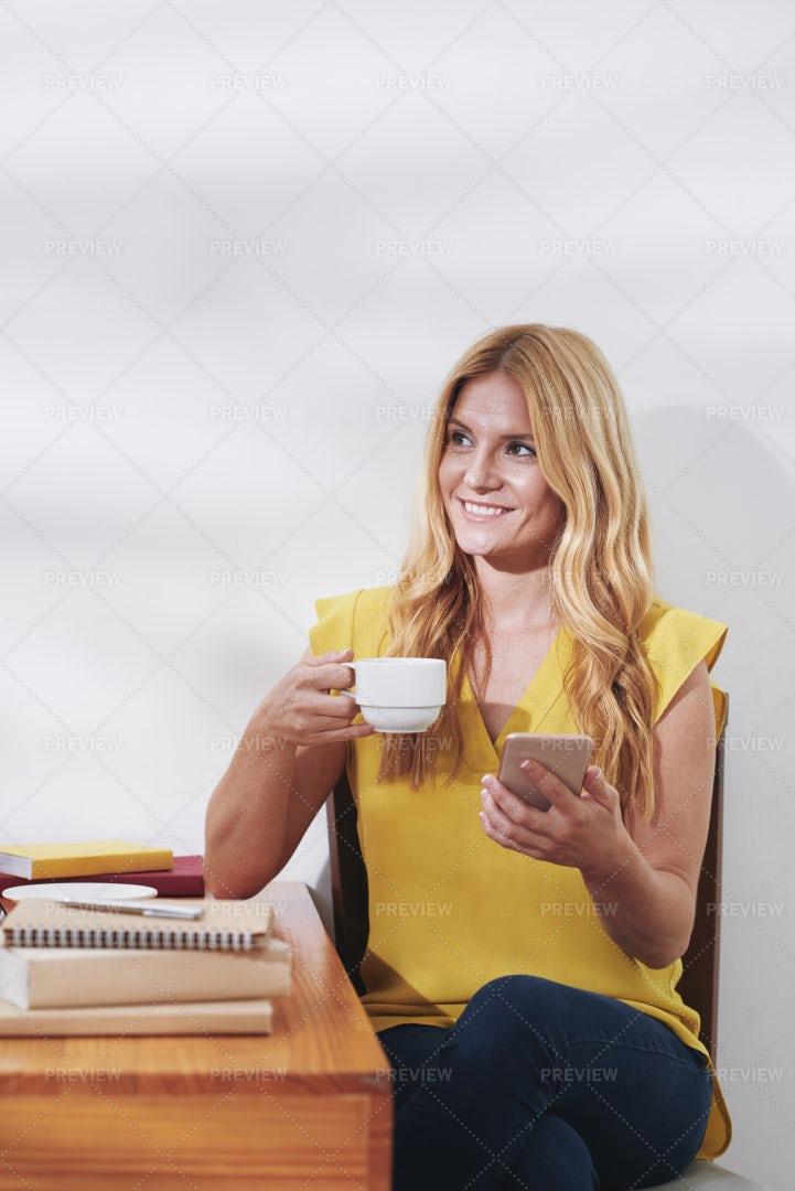 Student Enjoying Coffee Break: Stock Photos