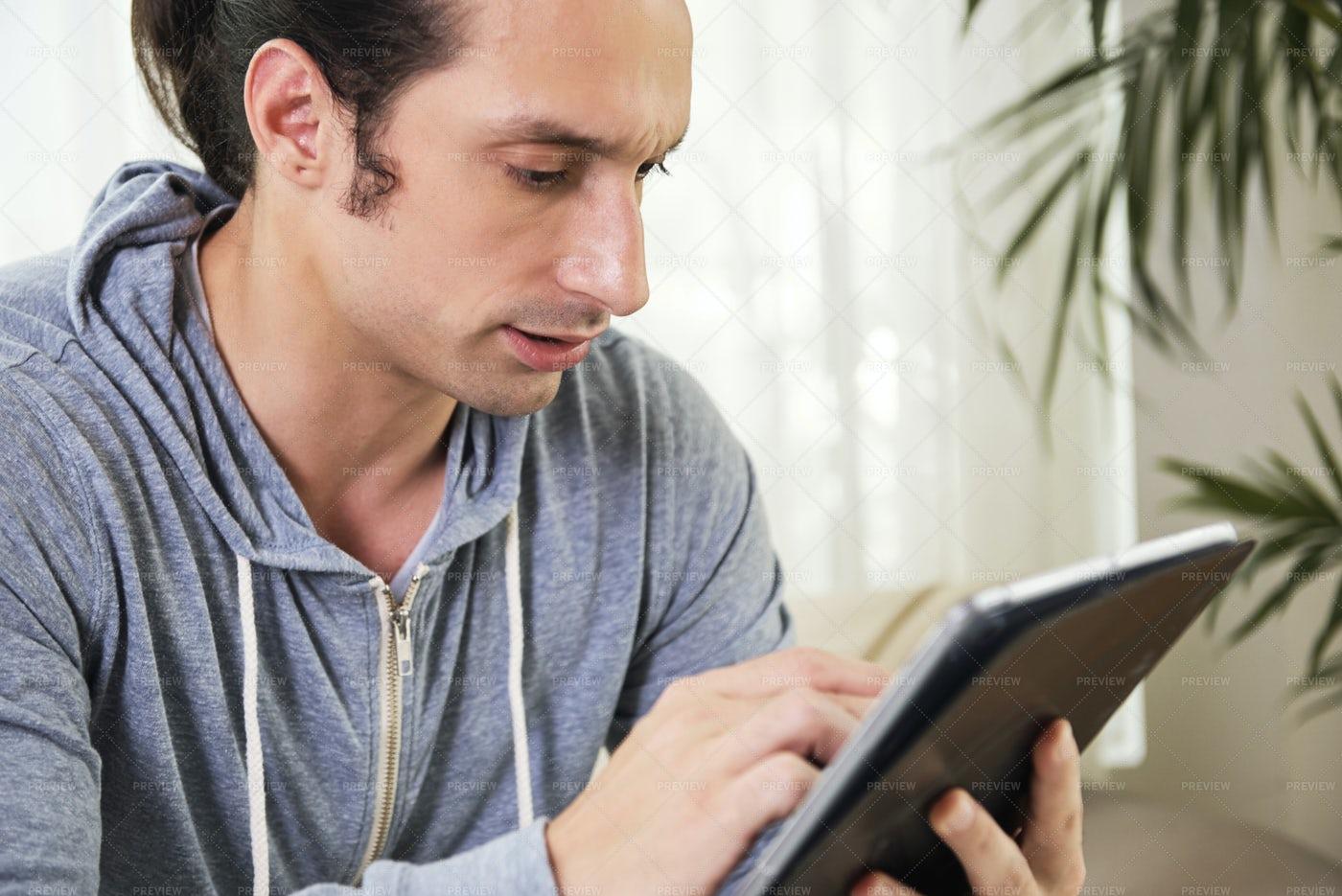 Man Communicating Online: Stock Photos