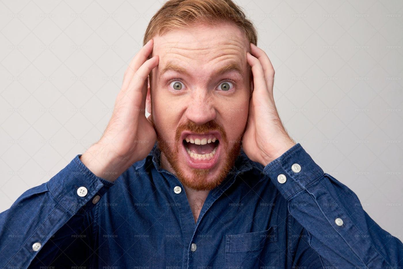 Young Man In Panic: Stock Photos