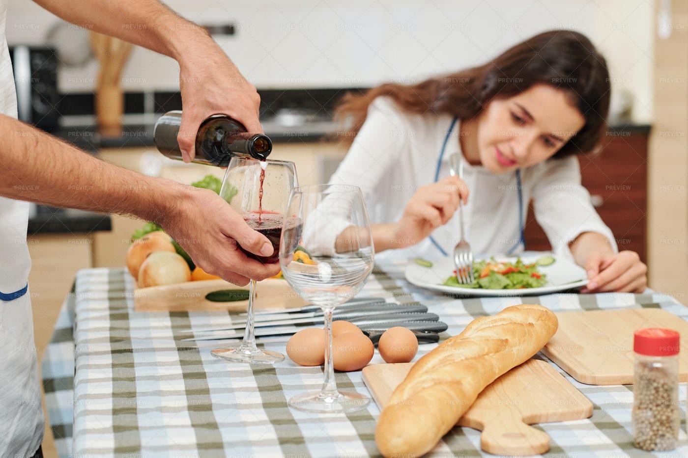 Man Filling Wine Glasses: Stock Photos