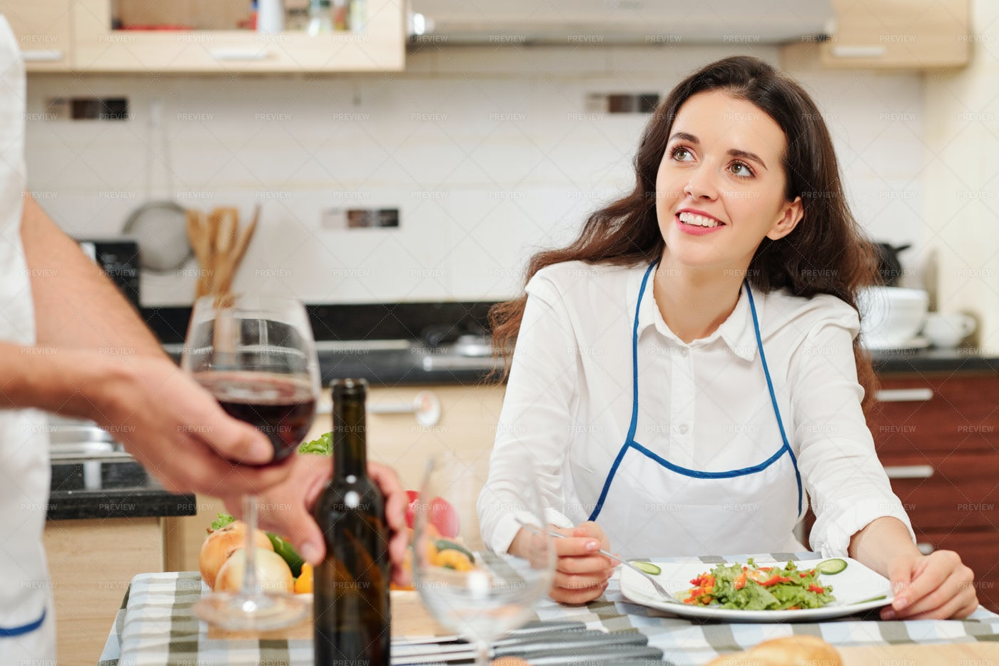 Pretty Woman Eating At Home: Stock Photos